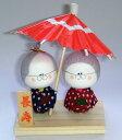 手づくり民芸 和柄 和紙人形 長寿祖父母相合傘 お祖父さんとお祖母さん 日本製 ○本品の色・柄は当店にお任せ頂くようになります。 〈日本人形 合い合い傘 相々傘 おじいさんとおばあさんあいあいがさ 海外へのお土産にもおススメです!〉