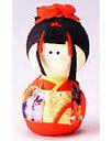 手づくり民芸 和柄 和紙人形 起き上がりこぼし 起き上がりお姫さま人形 日本製です。 ○本品の色・柄は当店にお任せ頂くようになります。 〈日本人形 和の置物 七転八起 七転び八起き お姫様人形 おひめさま 通販〉