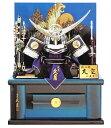 送料無料 久月作 五月人形 青翠 25号着用兜 虎二曲屏風 木製収納台飾り 〈東京久月 浅草橋久月