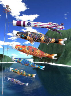 Tokunaga streamers made tribute hand dyed Yuzen, carp crepe Kyoto Nishiki-8 m 7 piece set great banners