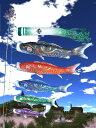 送料無料 徳永鯉のぼり作 金彩弦月之鯉 【豪】 3m7点庭園用ガーデンセット 〈本格派 軽量ポール付 こいのぼり 子供の日 通販〉