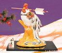 陶器製 干支の置物 酉年/鳥年 お正月飾り 寿 新春、開運招福の縁起物! 破魔矢銜え、福運び梅柄福札の酉 福鶏はまや飾り 台・屏風・木札付きです。 〈平成29年招福開運 2017年 平成二十九年 二〇一七年 十二支十二獣 鶏年とりどしニワトリ〉