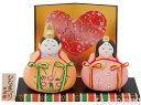 昭峰作 陶器製 雛人形 スワロフスキークリスタルガラス付き平安ちゃきん雛 屏風・お盆・木札付き 〈伝
