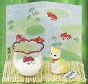 夏ものがたり 涼風金魚鉢 猫と金魚 挨拶 あいさつ 〈ねこときんぎょ ネコとキンギョ 陶器の置物 和のインテリア 通販〉