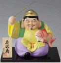 開運招福の縁起物! 陶器製 笑門七福神 恵比寿・恵比須 特大 飾り台・木札付きです。 〈招福開運の縁