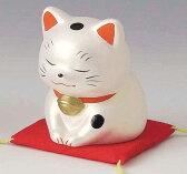 陶器製 福助型招き猫 いらっしゃいませ! 〈開運 招福 縁起物 ふくすけ まねきねこ 陶器の置物 和のインテリア 通販〉