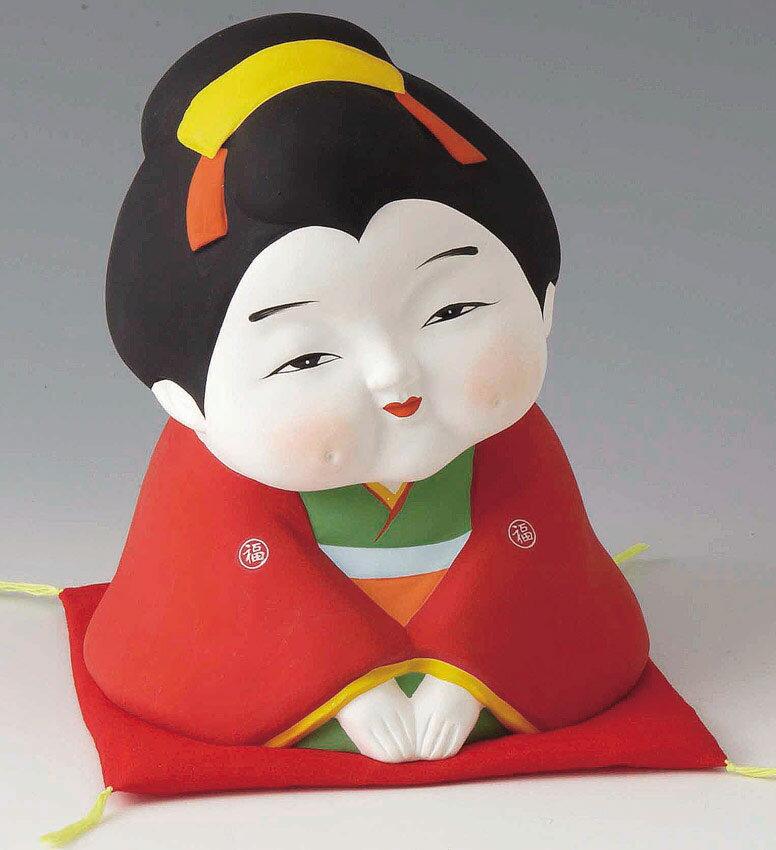 商売繁盛! 千客万来! 開運招福の縁起物 陶器製 お福さん 大 いらっしゃいませ! 赤座布団付きです。 〈開運 招福 縁起物 おふくさん 陶器の置物 和のインテリア 和の置物 日本の伝統品 日本の伝統文化 通販〉