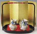 開運招福! 磁器製 梟(ふくろう)エビス 大黒 earthenware goods 〈縁起物 和の置物 インテリア 動物のお飾り アート 七福神型フクロウ 恵比寿 だいこくさま だいこくてん 贈り物 プレゼントにも人気です! 通販〉