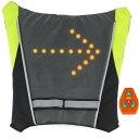 Ali10 自転車用 方向指示ライト LED ベスト リュック バックパック ターン信号光反射ベスト安全 防犯 安全警告 ロード クロス