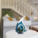 Tooarts 熱帯魚 クリスタル ブルーストライプ ガラス ガラス彫刻 置物 装飾 インテリア リビング 玄関 オーナメント