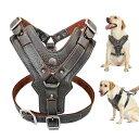 大型犬 本革 ハーネス 耐久性のある調整可能な犬のベストハーネス クイックコントロールでハンドル ペット用品用 K9 ラブラドール