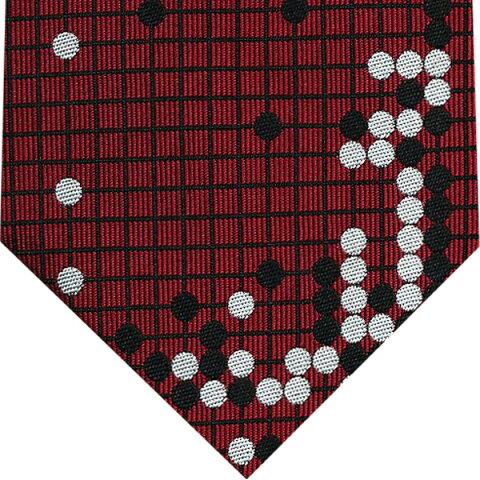 ネクタイ 囲碁将棋 和風柄(耳赤の譜)エンジ赤系プレゼント ギフト 贈り物