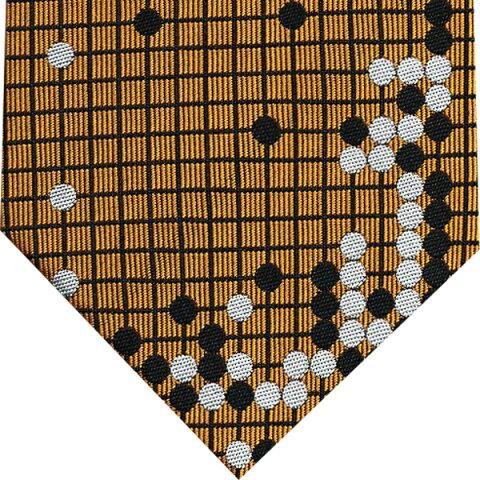ネクタイ 囲碁将棋 和風柄(耳赤の譜)茶系(碁盤色)プレゼント ギフト 贈り物