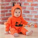ハロウィン 衣装 ベビー■羽付きデビル かぼちゃ フリースロンパース70cm/80cm/90cm/9...