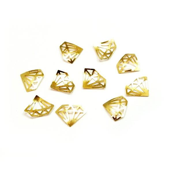 レジンやネイルアートに!「ダイヤモンド」 極薄メタルパーツ 10枚セット 高品質両面メッキ