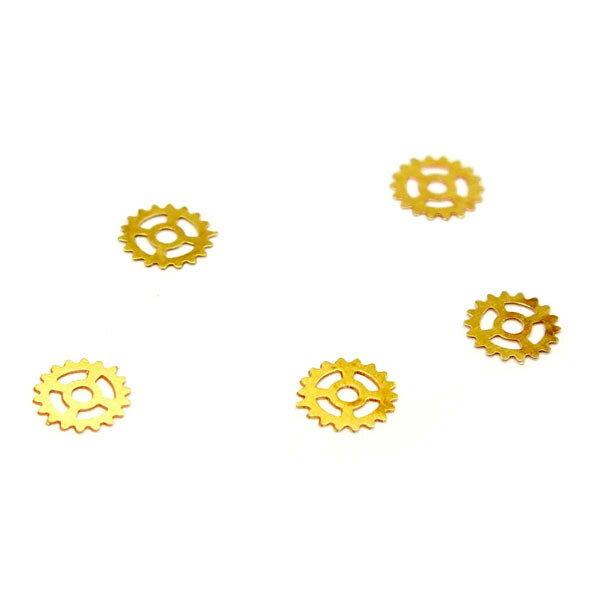 レジンやネイルアートに!「十字歯車」 極薄メタルパーツ 10枚セット