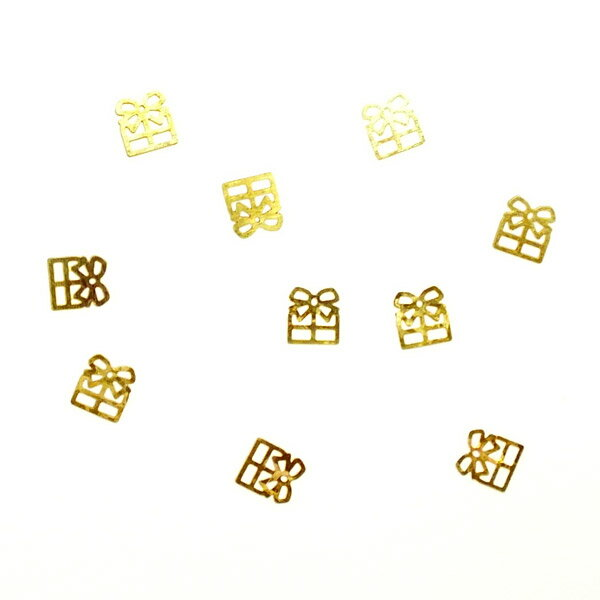 レジンやネイルアートに!「ギフトボックス」 極薄メタルパーツ 10枚セット 両面メッキ n12【RCP】