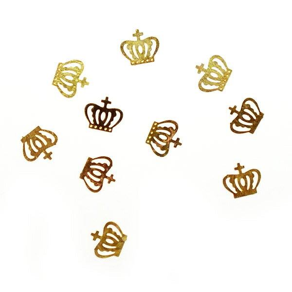 レジンやネイルアートに!「十字付き王冠 小さめ」 極薄メタルパーツ 10枚セット 両面メッキ クラウン n12【RCP】
