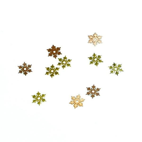 レジンやネイルアートに!「雪の結晶」 極薄メタルパーツ 10枚セット スノーフレーク 片面メッキ n6【RCP】