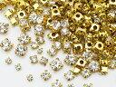 (699) 【大特価品】爪付き(座付き)高品質ガラスラインストーン ゴールド×クリスタルサイズMIX 50粒入り