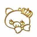 (2556) レジン フレーム(ミール皿・セッティング台)王冠&リボン 可愛いブタさん ピッグ メルヘン イラスト風 ゆるかわ