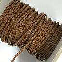 (LS18) 【副資材】 高品質 レザーストラップ 丸紐 ライトブラウン うす茶 2mm幅 本革 編み込み 四つ編み 10cm カット売り 革紐 皮紐 コード
