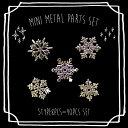 (1581) フラット ミニメタルパーツ スノーフレーク 雪の結晶 アソート ゴールド ネイル レジン 封入素材 5種×8ピース 計40枚入り
