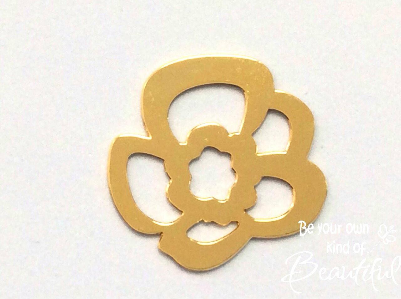 【高品質日本製】(K93)透かしパーツ シンプルフラワー 鏡面 ゴールド 約3.3×3.3cm 土台