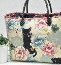 猫 《再販売!》 「 キルトゲイト 百華繚蘭 Japanese N-E-K-O 」和柄 くろねこ 猫 生地 かわいい