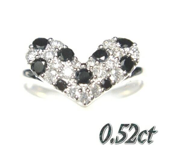 【予約】大きめドット柄キュートハート計0.52ctダイヤ&ブラックダイヤリング