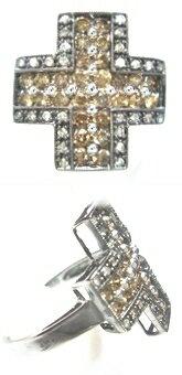 【ラスト1個】【ジュエリーベストドレッサー】モデルクロス取り巻き計1.00ctブラウンダイヤモンドリング