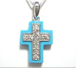 【限定特価】ミニクロストルコ十字架計0.08ctダイヤモンドネックレス