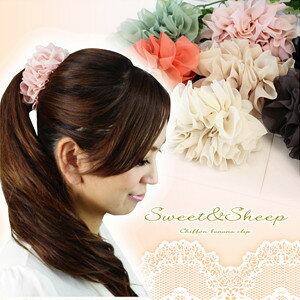 Chiffon gathered ruffles banana clip ◆ banana clips, hairclip, chiffon and ruffles, women's /Sweet &Sheep