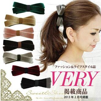 Bi-color baby ロアリボン banana clip ◆ hairclip, banana clips, ladies, Ribbon /Sweet &Sheep
