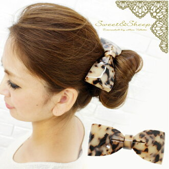Tortoiseshell big Ribbon Barrette ◆ Barrette and Ribbon / tortoiseshell / tortoiseshell /Sweet &Sheep