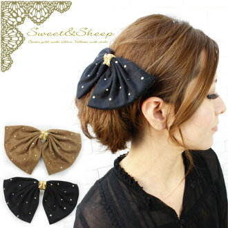 Studded Center gold suede Ribbon Barrette ◆ Valletta / Ribbon / suede /Sweet &Sheep