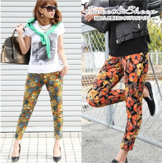 Stretch pants fashion trend flashy West them effortlessly cute cute floral large floral check leggings tight women's Sweet &Sheep original bottoms ◆ tuck into stretch pants