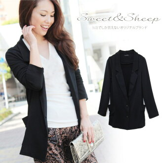 Jacket tailored jacket stretch women's solid thin Cardigan outerwear winter black ◆ plain tailored jacket with pockets