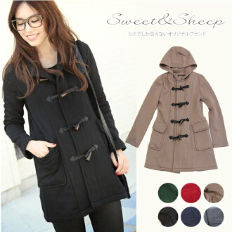 Back brushed sweat coat Womens Duffle 着やせ women's Sweet &Sheep fleece ◆ sweatshirts stretch Duffle coat