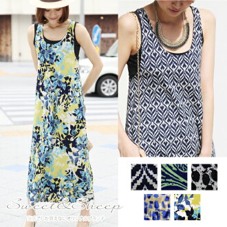 A line pattern dress flashy backcross hosomi eh, relatively short slender look extra long tank top-women's Sweet &Sheep original ◆ print tank Maxi-length flared dress.