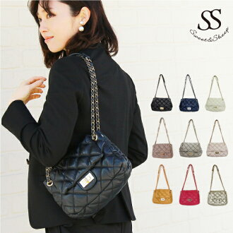 Quilted chain bag shoulder bag leather matelasse black ◆ Sweet &Sheep キルティングチェーン leather chain bag / matelasse / shoulder back /