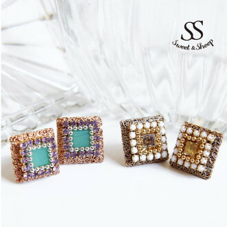 Four angles of accessories overswinging pearls decorative Lady's Sweet & Sheep select ◆ square cut stone bijou pierced earrings