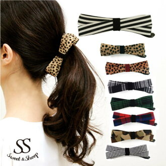 レオバード pattern Ribbon banana clip ◆ hairclip, banana clips, ladies, Ribbon, Leopard /Sweet &Sheep