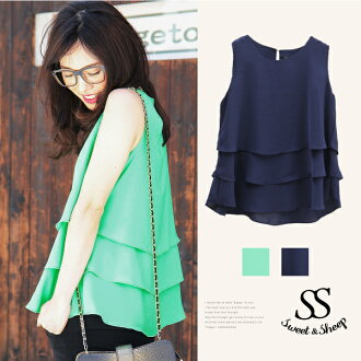 Tops chiffon Shin pull adult green navy Lady's Sweet & Sheep select ◆ flare chiffon tank top
