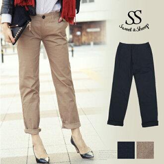 Trousers & shorts women's chinos casual daily bottom Sweet &Sheep original ◆ cotton stretch Chino pants