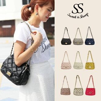 Quilted chain bag shoulder bag leather matelasse black ◆ Sweet &Sheep キルティングチェーン leather chain bag / matelasse / shoulder back /