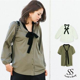 Pretty white blouse shirt long-sleeved khaki bowtie because adult trend plain Sweet &Sheep original [baikarabowti with puff sleeve blouse