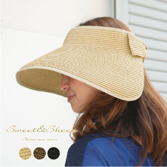 Sun visor UV uv cut ladies Ribbon collar wide Hat awning Cap Hat folding mobile elegant gardening UV measures sunscreen ◆ folding straw hat with Ribbon collar wide visor