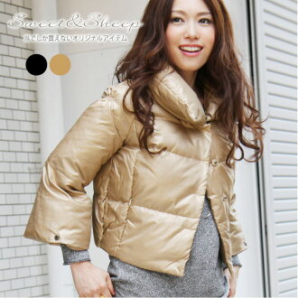 The light flared sleeves mini feminine beauty line was down 90% nylon wool beige black women's Sweet &Sheep original ◆ down jacket
