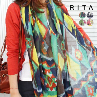 Scarf shawl Ortega flashy pattern large soft volume and straw or Nate ladies accessory sunburn protection heatstroke ◆ ethnic print shawl